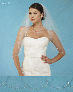 Marionat Bridal Veils 3478 - Embroidered Scallop - The Bridal Veil Company