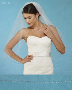 "Marionat Bridal Veils 3479 - 32"" Long Beaded edge - The Bridal Veil Company"