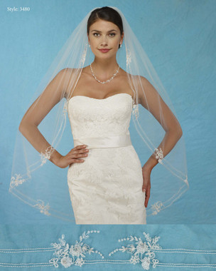 Marionat Bridal Veils 3480 - Embroidered Flower Appliques - The Bridal Veil Company