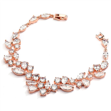 Top Selling Rose Gold Mosaic Shaped CZ Wedding Bracelet in 14K Gold Plating  4129B-RG-7
