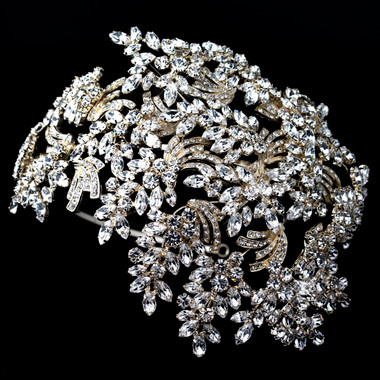 Light Gold Clear Marquise Rhinestone Wired Deco Side Accented Headband 19255