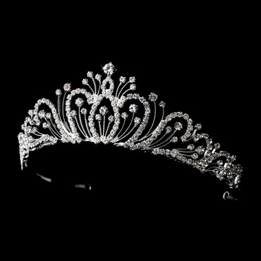 Classic Silver Clear Rhinestone Bridal Tiara 9822