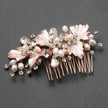 Mariell Rose Gold Bridal Hair Comb with Hand Painted Rose Gold Leaves, Freshwater Pearls and Crystals 4439HC-I-RG