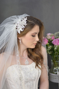 "Elena Designs Wedding Veil Style E1139L - Cathedral Beaded Scalloped Wedding Veil - 108"" inches"