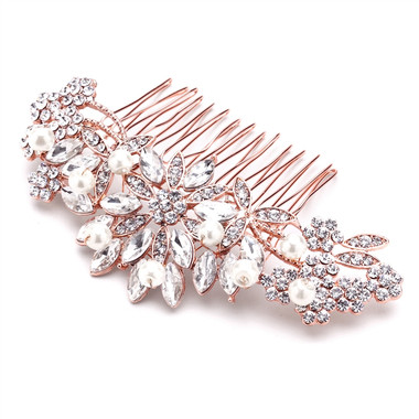 Rose Gold Hair Comb with Pearls, Crystals & Lucite Sunburst for Wedding or Prom 4047HC-RG
