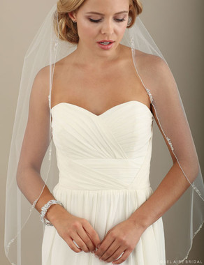 "Bel Aire Bridal Veils V7312C - 108"" Inches Cathedral with clusters of pearls and beads"