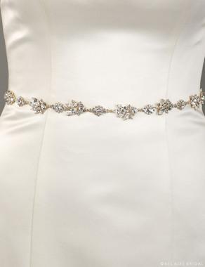 Bel Aire Bridal Belt BT072- Rhinestone motif belt on satin ties