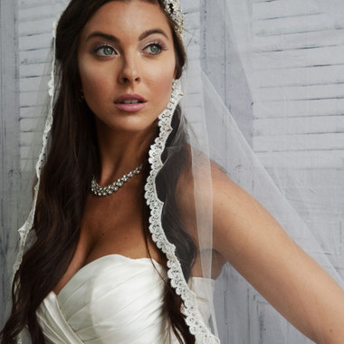 "Ansonia Bridal Veil Style 741L - 108"" inches - One tier lace mantilla with rhinestones"