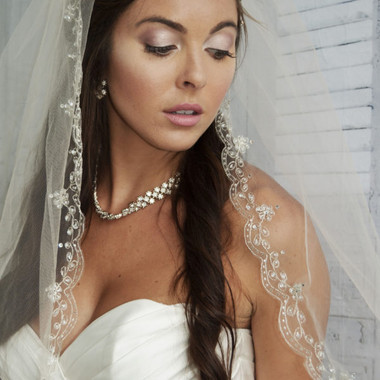 "Ansonia Bridal Veil Style 737S - 45"" inches -  One tier embroidered edge veil"