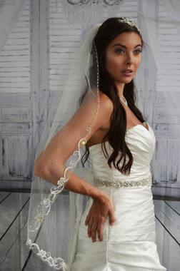 "Ansonia Bridal Veil Style 742 - 38"" inches - One tier embroidered swirl & flower edge veil."