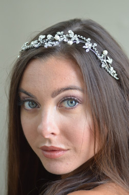 Ansonia Bridal 8726 - Pearl & flower rhinestone headband