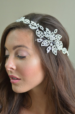 Elena Designs E864 - Flexible Headband with side floral motif