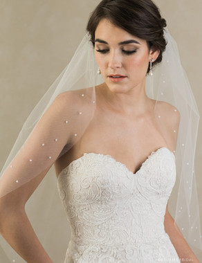 Bel Aire Bridal Veils V7378 - 1-tier elbow veil with cut edge and beaded clusters