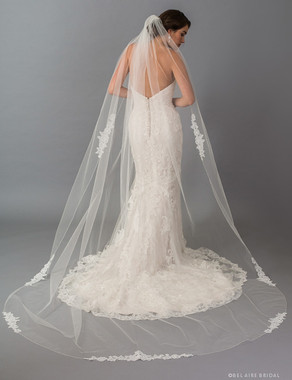 Bel Aire Bridal Veils V7400C 1-tier rolled edge cathedral with floral lace appliqués
