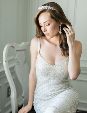 Bel Aire Bridal Headband 6702 - Contoured rhinestone tiara