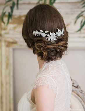 Bel Aire Bridal Headband 6727 - Frosted flower headpiece with crystal accents
