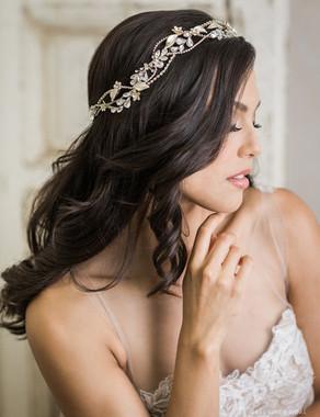 Bel Aire Bridal Headband 6752 - Weaving garland of rhinestones, metal flowers, and leaves