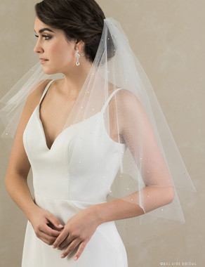 Bel Aire Bridal Veils V7390 - 2-tier elbow length foldover veil with scattered rhinestones