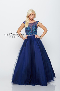 Milano Formals E2182 - Net Ball Gown Beaded