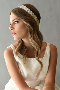 Erica Koesler Headband A-5571 - Beaded Embroidered Tulle