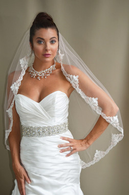 """Elena Designs Wedding Veil Style E1185S - Lace Embroidered Edge Veil With Pearls - 40"""" x 60"""""""
