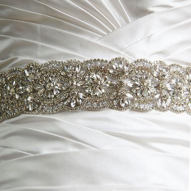 Elena Designs Wedding Sash Style E855 - Embellished Wedding Belt