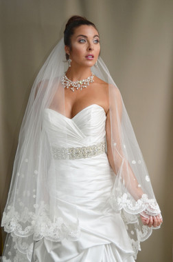 """Elena Designs Wedding Veil Style E1186S - Lace Embroidered edge veil with pearls - 35""""/60"""" x 72"""""""