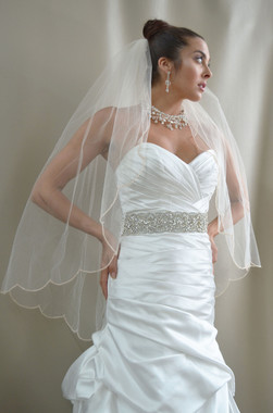 """Elena Designs Wedding Veil Style E1187S - Beaded Embroidered edge veil with pearls - 40"""" X 108"""""""