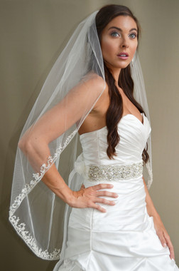 """Elena Designs Wedding Veil Style E1188S - Beaded Embroidered edge veil with pearls - 40"""" X 60″"""