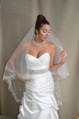 """Elena Designs Wedding Veil Style E1189S - Embroidered edge veil with pearls - 35""""/45"""" X 72"""""""
