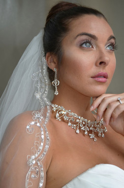 """Elena Designs Wedding Veil Style E1190S- Beaded Embroidered edge veil with pearls - 40"""" X 60″"""