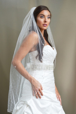 """Elena Designs Wedding Veil Style E1191S- Beaded  Embroidered edge veil with pearls - 40"""" X 60″"""