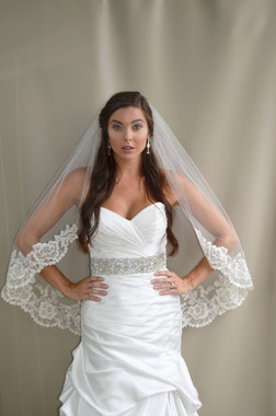 """Elena Designs Wedding Veil Style E1192S - Lace  Embroidered edge veil with pearls - 40"""" X 60″"""