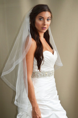 """Elena Designs Wedding Veil Style E1193L - Horsehair Embroidered edge veil with pearls - 108"""" X 72″"""