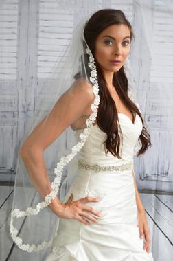 "Elena Designs Wedding Veil Style E1194S - Lace Embroidered edge veil - 40"" X 60″"