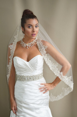 """Elena Designs Wedding Veil Style E1195 - Lace Embroidered edge veil with pearls - 40"""" X 60″"""