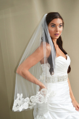 """Elena Designs Wedding Veil Style E1196S - Lace Embroidered edge veil with pearls - 40"""" X 60″"""