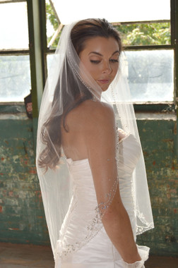 """Elena Designs Wedding Veil Style E1174S - Beaded Embroidered edge veil with pearls - 38"""" X 60″"""
