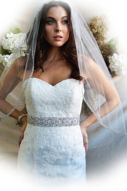 """Elena Designs Wedding Veil Style E1180 - Beaded Embroidered edge veil with pearls - 38"""" X 60″"""
