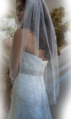 """Elena Designs Wedding Veil Style E1182S - Beaded Embroidered edge veil with pearls - 38"""" X 60″"""