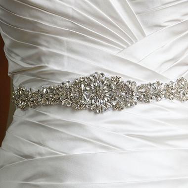 Elena Designs Wedding Sash Style E857B - Rhinestone belt