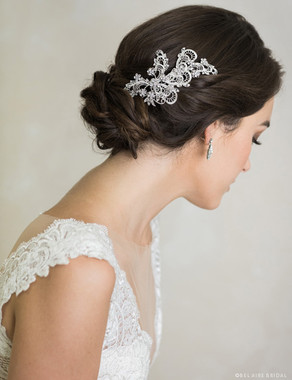 Bel Aire Bridal 6705 - Metal lace design comb with rhinestone flowers
