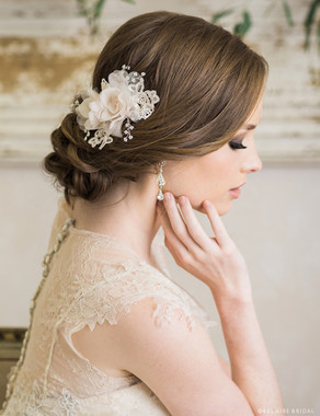 Bel Aire Bridal 6718 - Soft flower clip with lace and tiny pearls