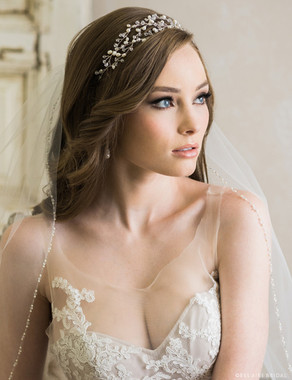 Bel Aire Bridal 6720 - Woven garland of pearls and crystals