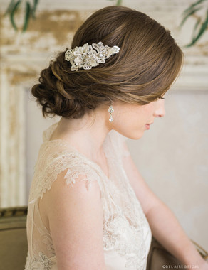 Bel Aire Bridal 6731 - Crocheted lace comb with metal leaves