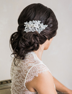 Bel Aire Bridal 6741 - Delicate Venise lace clip with pearls