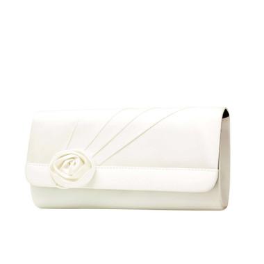 Liz Rene Handbag Rosette - B900 White Silk Satin