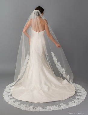 Bel Aire Bridal Veils V7404C - 1-tier cathedral veil with  re-embroidered Chantilly lace