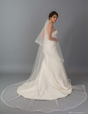 Bel Aire Bridal Veils V7405C - 2-tier foldover cathedral veil with narrow horsehair.