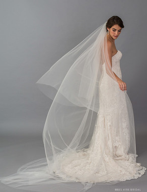 Bel Aire Bridal Veils V7407C - 2-tier foldover veil in soft luxe tulle